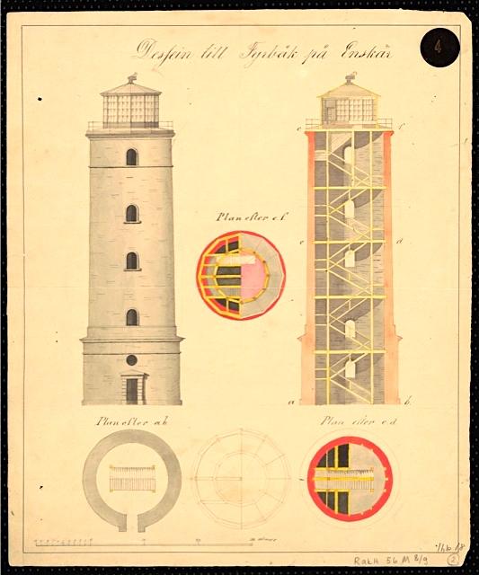 Isonkarin majakan rakennepiirustus Kansallisarkistosta